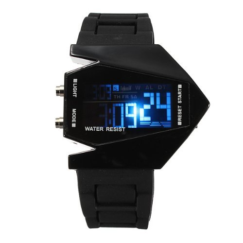 Elegant Plane Style Digital Display Led Silicone Wrist Watch Black