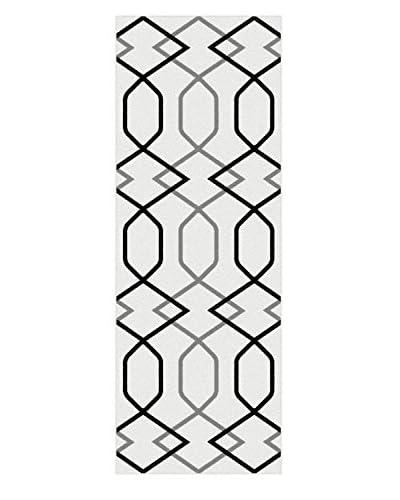 Universal Rugs Metro Indoor/Outdoor Contemporary Runner, White, 3' x 8'