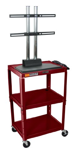 Burgundy 42 Inch 3 Shelf Steel Adjustable Height Av Cart With Lcd Mount