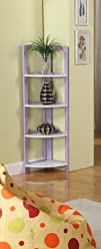 Purple  White Finish Wood Foldable 4 Tier Corner Shelves
