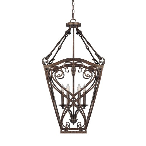 B0043M119K Capital Lighting 9362RT Foyer with Clear Glass Shades, Rustic Finish