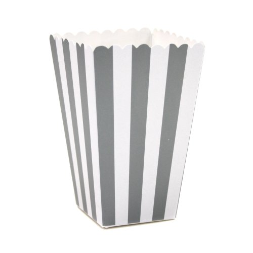 Dress My Cupcake 12-Pack Party Popcorn Boxes, Striped, Gray front-187826
