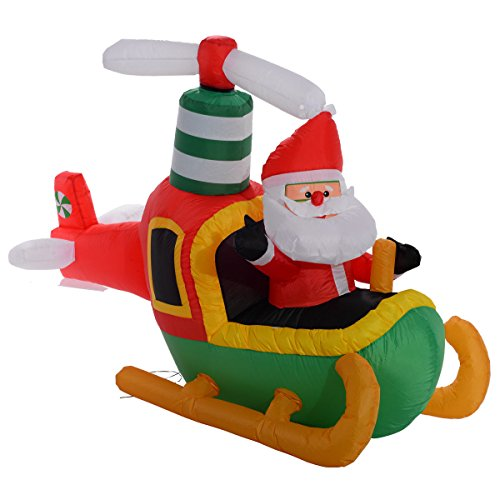 Tangkula 6 Ft Air blown Inflatable Christmas Santa Claus On Plane Decor Lawn Yard Outdoor (Air Blown Inflatables)