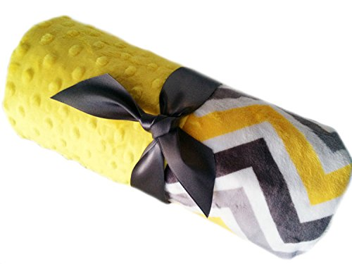 Baby Blanket Gray White And Yellow Chevron With Yellow Minky Personalized Blanket