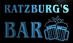 w100522 b RATZBURG Name Home Bar Pub Beer Mugs Cheers Neon Light Sign