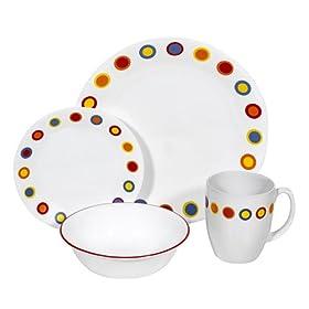 Corelle Livingware 16-Piece Dinnerware Set, Service for 4, Hot Dots
