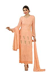 Desi Girl Fashion Store Women's Chiffon Unstitched Dress Material (DGFS01_Orange_Freesize)