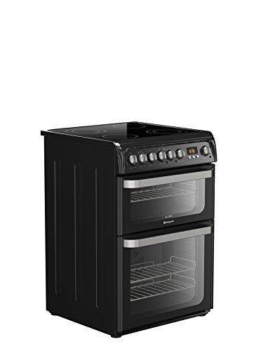 Hotpoint HUE61KS Double Oven Cooker - Black
