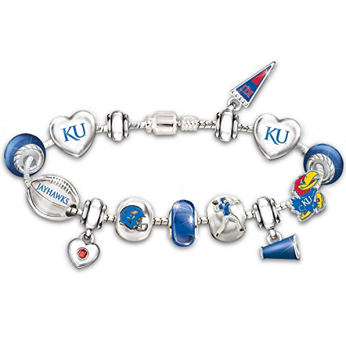 Sterling Silver Plated Go Kansas Jayhawks! #1 Fan Charm Bracelet By the Bradford Exchange