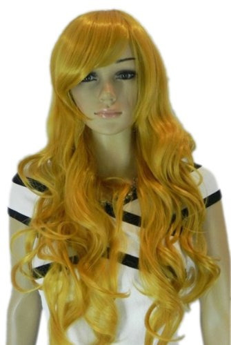 Yazilind Long Curly Wavy Yellow Synthetic Hair Full Wig