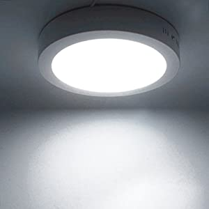 18W LED White Body Round Surface Mount Ceiling Panel Down Light Cool White 6500K Super Bright by Long Life Lamp Company