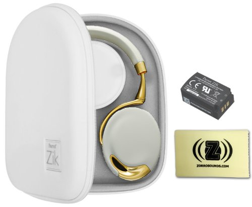 Parrot Zik Touch-Activated Bluetooth Headphones (Yellow/Gold) Bundle With Parrot Zik White Case, Parrot Zik Battery (3.7V - 800Mah) And Custom Designed Zorro Sounds Cleaning Cloth
