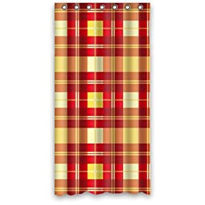 fashion england style red yellow plaid shower curtain 36