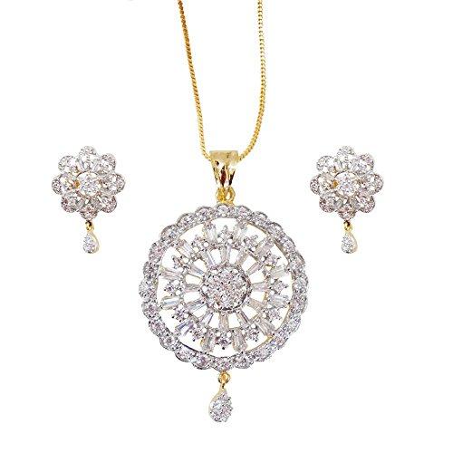 Sheetal Jewellery Silver & Golden Brass & Alloy Pendant Set For Women - B00TIH070O