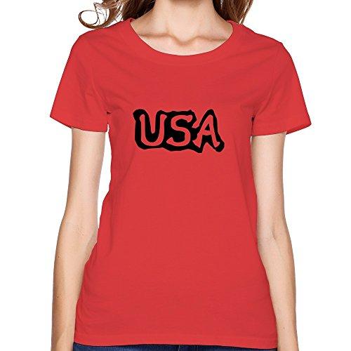 Flycro Short Sleeve Women'S Usa Graphic Line Art Classic T-Shirt