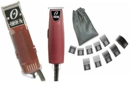 Oster Classic 76 Hair Clipper and T-Finisher a 10 piece comb set Package.