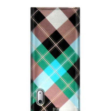Premium Designer Crystal Snap-on Case for the Apple iPod Nano 5 5th Generation - Blue, Green Diagonal Plaid Checkers Print