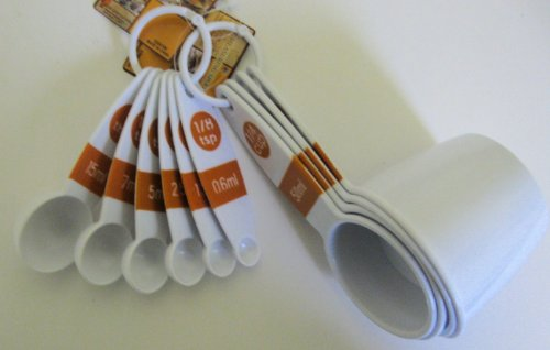 10 Piece Measuring Cups and Spoons Set - Burnt Orange Handle