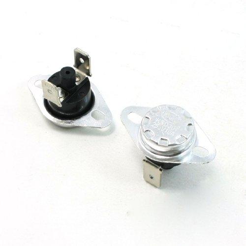 2 Pcs 140C Celsius Nc. 2 Pin Bent Foot Design Manual Reset Thermostat 10A Ac250V