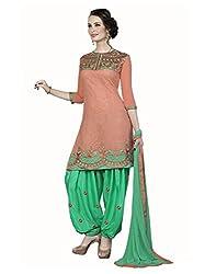 Lookslady Embroidered Orange Cotton Salwar Suit