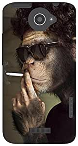 The Racoon Lean Smoking Monkey hard plastic printed back case for HTC One X