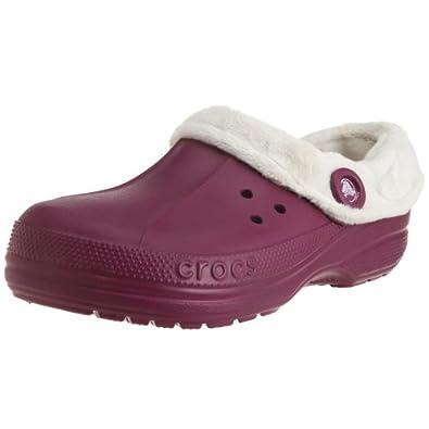 Crocs Blitzen Polar Womens Size 8 Purple Plum/Oatmeal Synthetic Clogs Shoes