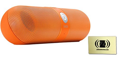 Beats By Dr. Dre Neon Orange Pill Portable Speaker Bundle With Zorro Sounds Cleaning Cloth
