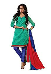 Fabdeal Womens Chanderi Unstitched Dress Material (HVR2DR3416NCR_Turquoise)