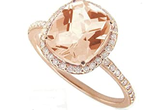 Meira T 14K Rose Gold & Diamonds - Cushion Cut Pink Morganite Center Stone - Right Hand Ring Size 6