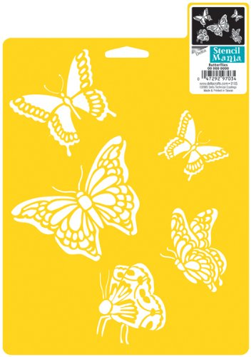 Plaid Delta Stencil Mania Butterflies, Size 7-inch by 10-Inch