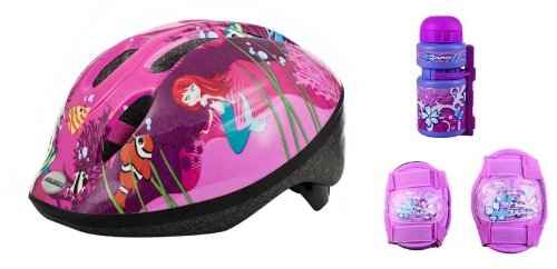 Raleigh Girls Bike Cycle Helmet (48 - 54 cm) with Knee and Elbow Pads, Bottle