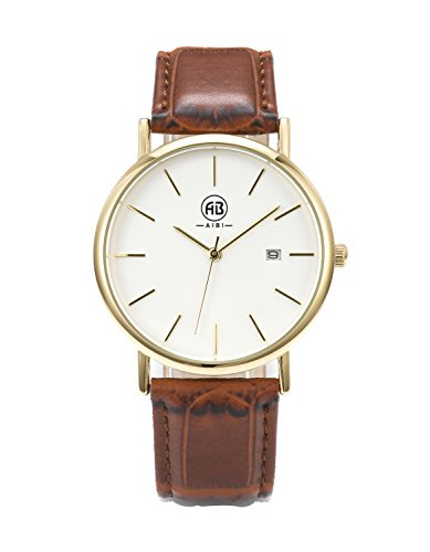 AIBI-Mens-Gold-tone-White-Dial-Brown-Leather-Strap-Dress-Watch-with-Auto-Date-Function