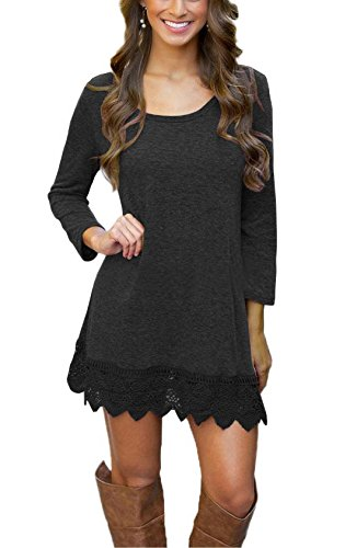 Our Precious Women's Long Sleeve Tunic Lace Stitching Trim Casual Dress White M