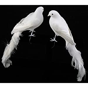 "Package of 2 Flocked 14"" White Feathered Dove Artificial Bird with Real Feathers"