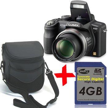 Panasonic FZ38 Digital Camera +4GB +Soft Case Bundle (Lumix DMC-FZ38 Black, 12MP 18xOptical Zoom 27mm Wide-Angle 2.7