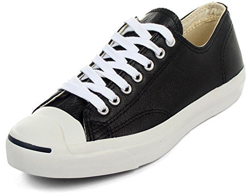 Converse Jack Purcell Leather Fashion-Sneakers, Black/White, 9.5 B(M) US Women / 8 D(M) US Men (Jack Purcell Shoes Men compare prices)