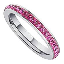 buy Beydodo Stainless Steel Womens Wedding Band Eternity Engagement Rings 3Mm Stick Roseo Cz, Size 8