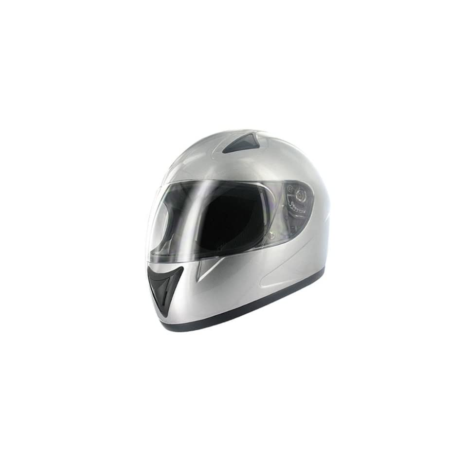 HCI 75 Silver Full Face Motorcycle Helmet (X Small)