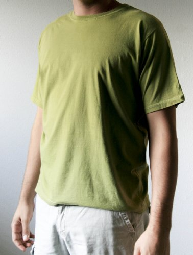 100% Egyptian Cotton Short-Sleeve Crewneck T-Shirt (Or Tee) - Desert Olive (X-Large)