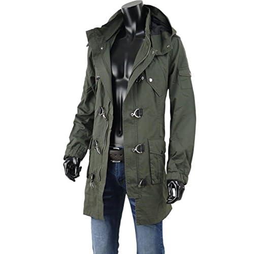 ファイヤーマン コート ロングコート メンズ ミリタリー ファイヤーマンフック モッズコート A260919-01 カーキ M