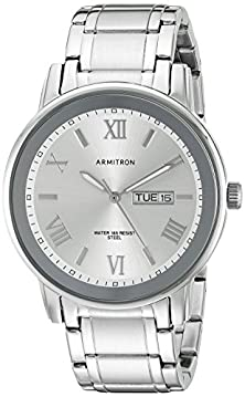 buy Armitron Men'S 20/4935Svsv Day/Date Function Dial Silver-Tone Bracelet Watch