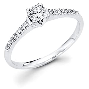 14k White Gold Solitaire Round Diamond Engagement Ring