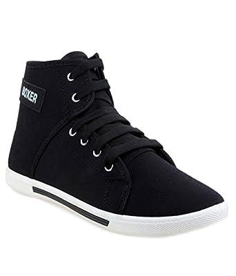 Leewon Boxer Black Canvas Sneakers