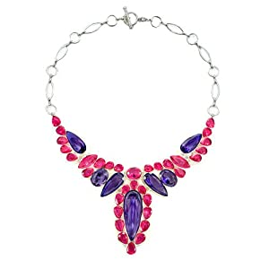 Pugster Chunky Bubble Rose Pink Amethyst Purple Water Drop Bib Statement Necklace Fashion Jewelry For Women
