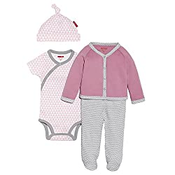 SkipHop Baby-Girls Newborn Petite Triangles Take Me Home Set, Pink, 3 Months