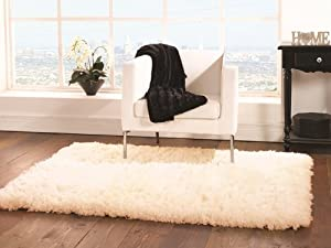 Small-Large Affordable Quality Ivory Faux Sheepskin Style Rug 4 Sizes- Deluxe from The Rug House