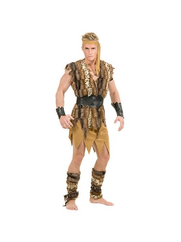 Adult Caveman Hunk Costume Bundle With Accessories ( SIZE - Small )