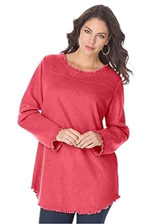 Roamans Women's Plus Size Sherpa Fleece Tunic Antique Strawberry,S