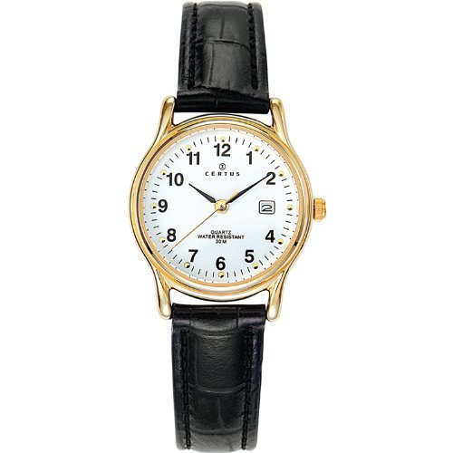 Certus 646500 - Ladies Watch - Analogue Quartz - White Dial - Black Leather Strap