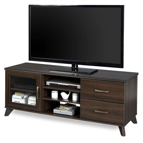 South Shore Caraco 3-Open Storage TV Stand, Mocha Brown